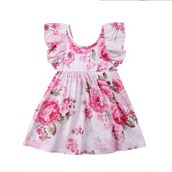 Toddler Infant Kids Baby Girls Summer Floral Dress Blooming Party Wedding Dresses For Girls 3-8Y