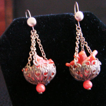 Antique Branch Coral Chandelier Drop Earrings / Filigree / Vintage Jewelry / Jewellery