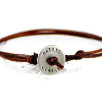 Small Disc Personalized Leather Bracelet.