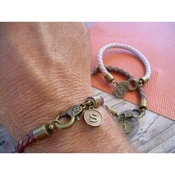 Mens Braided Leather Initial Charm Bracelet with Antique Bronze Hardware, Initial Bracelet, Mens Bracelet, Mens Jewelry, Personalized,