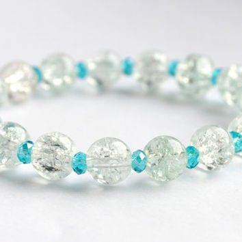 clear bracelet, blue bracelet, stretch bracelet