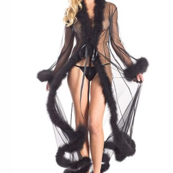 Full length black marabou trimmed robe with front satin ties Be Wicked