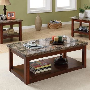 3 Piece Wooden Occasional Table Set With Faux Marble Top By Poundex