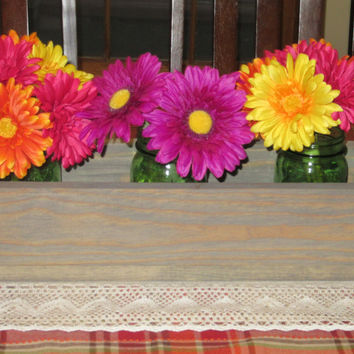 Weathered oak Wood Planter Box • Mason Jar Centerpiece, Long wood box, Candle Holder, Wedding Centerpiece • 18 inches long
