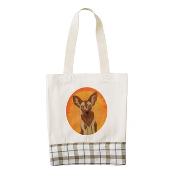 African Wild Dog Zazzle HEART Tote Bag
