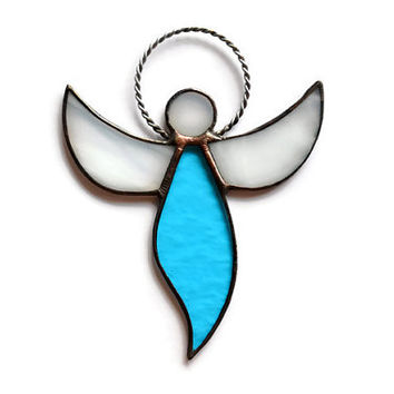 Stained Glass Angel Suncatcher sky blue aqua D1, Guardian Angel Ornament, Remembrance Angel Decoration, Rear View Charm, Window/Wall decor