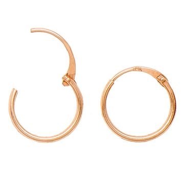 14k Rose Gold EasyOn™ Hinged Thin Endless Hoop Earrings (1mm), All Sizes