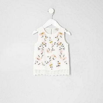 Mini girls cream floral embroidered shell top
