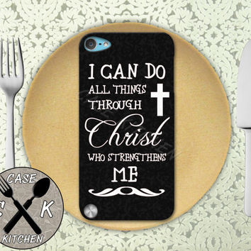 I Can Do All Things Through Christ Who Strengthens Me Black Custom Rubber Case iPod 5th Generation and Plastic Case For iPod 4th Generation