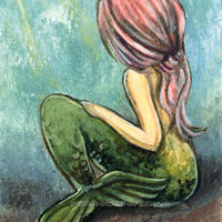 Pink Mermaid Art, 8x10 Print, Fairy Tale Artwork, 8x10 Wall Decor, Green Fish Tail, Portrait Illustration, Pink Hair