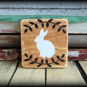 Easter Sign, Bunny Silhouette, Vintage Style Decor, Farmhouse Plaque, Rabbit Sign, Affordable Gift,Easter Basket Gift,Spring Sign,Wood Sign