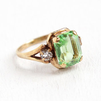 Vintage 10k Rosy Yellow Gold Emerald Cut Vaseline Uranium Glass Ring - 1940s Size 2 1/2 Simulated Peridot Clear Glass Stone Fine Jewelry