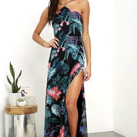 Next-Door Neighbor Black Floral Print Backless Maxi Dress