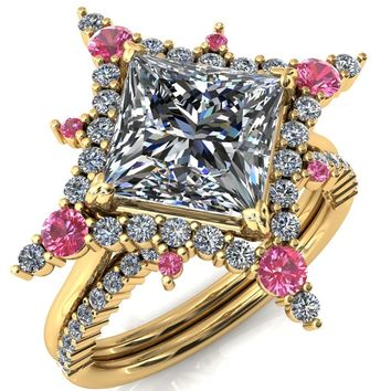 Thalim Princess/Square Moissanite 4-Point Star Pink Sapphire and Diamond Halo Ring