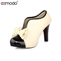 2017 New Women Pumps Zapatos Mujer High Heels Shoes Size Bowtie Sapato Feminino Vintage Style Women Dress Shoes Wedding Shoes