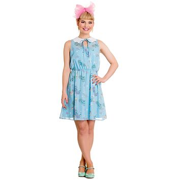 Hell Bunny Sea Punk Pastel Blue Bubble & Seahorse Sweet Blue Chiffon Dress