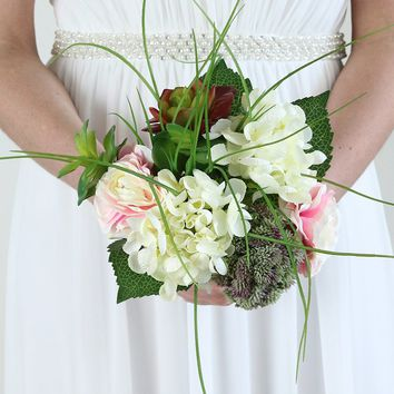 "Silk Ranunculus, Hydrangea & Succulent Bouquet in Pink White and Burgundy - 11"" Tall"