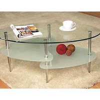 38 in. Accent Table Metal Contemporary Oval Coffee Clear Frosted Beveled Glass