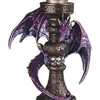 Medieval Purple Dragon With Orbe Skulls Votive Candle Holder
