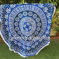 COR's Blue Ombray Hippie Mandala Tapestry Round Roundie Wall Hanging Beach Towel Throw Yoga Mat Round Tapestry 82""