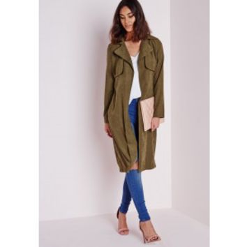 Missguided - Peached Belted Trench Coat Khaki