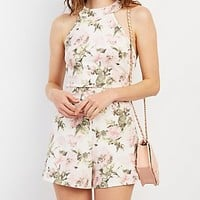 TEXTURED FLORAL PRINT ROMPER
