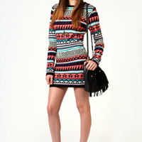 Mollie Aztec Knitted Long Sleeve Bodycon Dress