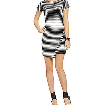 Jodi Kristopher Striped Envelope Hem Dress - Black/Salmon