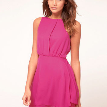 Sleeveless Back Cutout Shirtwaist Chiffon Mini Dress