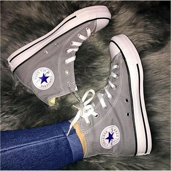 Converse All Star Sneakers For Unisex Hight Tops Sports Leisure Comfort Shoes Grey-2