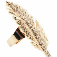 embellished feather ring 5.20 in GOLD - Rings | GoJane.com