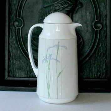 "Vintage Corning Ware ""Shadow Iris"" Pattern Corelle Carafe ""Thermique"" Thermos 1 Qt / 1 Liter , Shadow Iris Design"