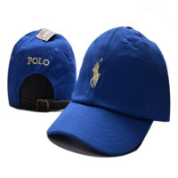 Blue Polo Embroidered Unisex Adjustable Cotton Sports Cap Hat