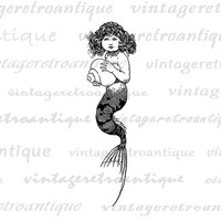 Mermaid Girl Printable Image Graphic Download Digital Illustration Antique Clip Art Jpg Png Eps  HQ 300dpi No.3785
