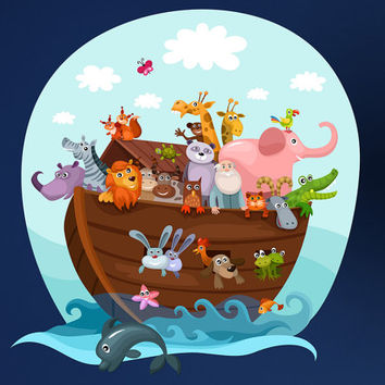 Noah's Ark and Animals Printed Removable Wall Vinyl Noah Ark boat ship bible story animals Genesis flood rain noahs ark pairs of animals