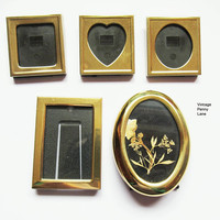 Vintage Miniature Brass Picture Frames, Mini Lot of 5