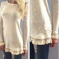Beige Lace Trim Long Sleeve Shirt