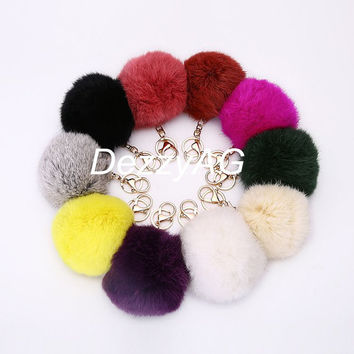 Fur Ball Keychain car keys white rabbit fur ball key chain 10cm furry puff ball woman handbag charm color could be change and customize