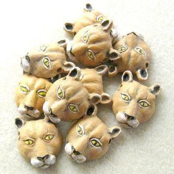 peruvian ceramics mountain lion catamount puma couger animal head pendant bead jewelry  number 1