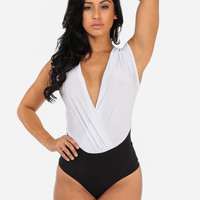 Cross Over White Bodysuit