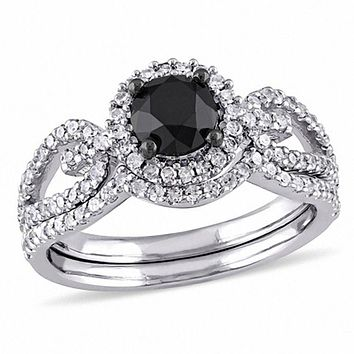 1.50 Ct. Black and White Diamond Halo Loop Shank Bridal Engagement Ring Set in 14K White Gold