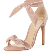 Alexandre Birman Clarita Velvet Ankle-Tie 100mm Sandal, Light Pink
