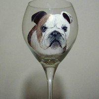 Hand Painted Bulldog Wine Glass