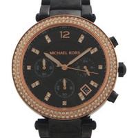MK5885 Parker Chronograph Black Dial Rose Gold-Tone Watch by Michael Kors (Women)