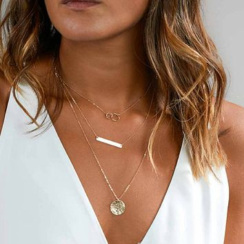 Gold Layered Double Ring Chain Necklace