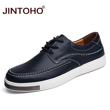 Casual Men Shoes Men Genuine Leather Shoes Lace Up Male Shoes Fashion Designer Men Flat