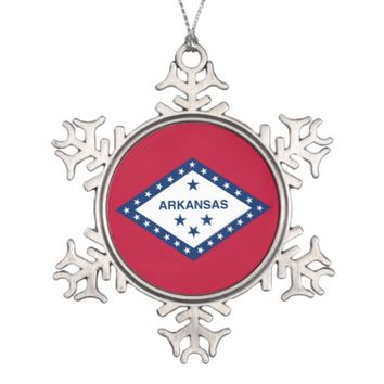 Snowflake Ornament with Arkansas Flag