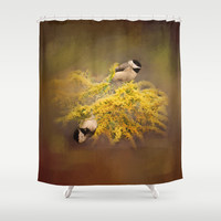 Pot of Gold - Chickadees - Song Birds - Wildlife Shower Curtain by Jai Johnson