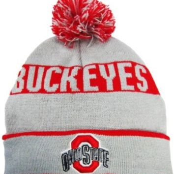 Ohio State Buckeyes Grey/Red Cuffed Pom Knit Beanie Hat / Cap