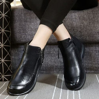 STOCK IN US! Women Boot High Quality 100% Cowhide Leather Lady Marten Shoes US#10 Black